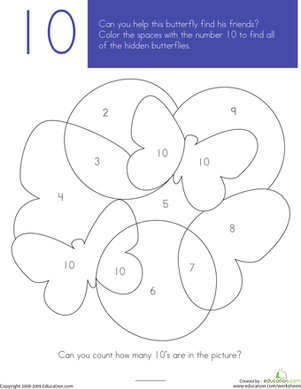 Preschool Math Worksheets: What's Hiding in the Numbers?: 10