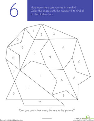 Preschool Math Worksheets: What's Hiding in the Numbers?: 6