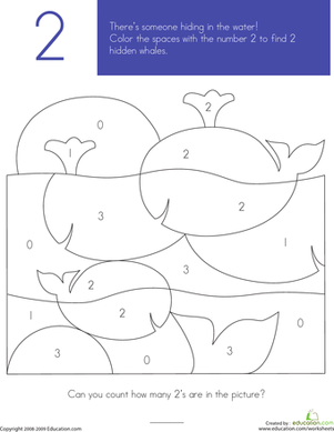 Preschool Coloring Worksheets: What's Hiding in the Numbers?: 2