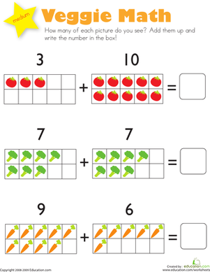 Kindergarten Math Worksheets: Addition: Veggie Math