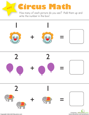 Kindergarten Math Worksheets: Addition: Circus Math