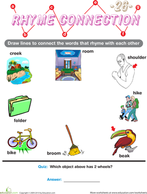 Preschool Reading & Writing Worksheets: Rhyme Connection 26