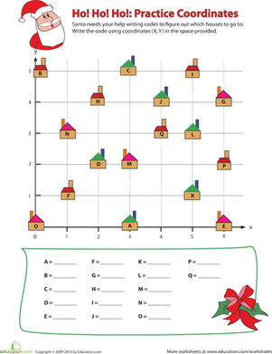 Fourth Grade Holidays & Seasons Worksheets: Coordinates for Kids: Ho, Ho, Ho!