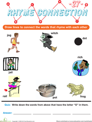 Preschool Reading & Writing Worksheets: Rhyme Connection 27