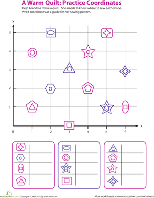 Fourth Grade Math Worksheets: A Warm Quilt: Practice Coordinates