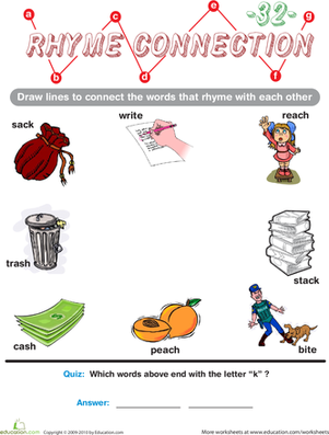 Preschool Reading & Writing Worksheets: Rhyme Connection 32