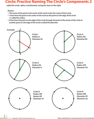Circle Parts | Worksheet | Education.com