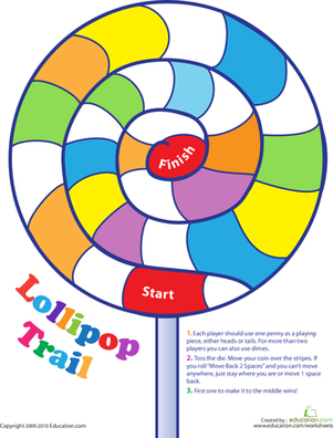 Kindergarten Offline games Worksheets: Lollipop Trail Game