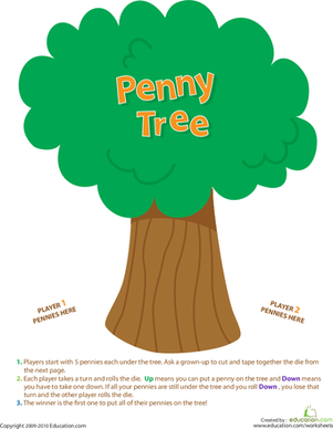 Kindergarten Offline Games Worksheets: Penny Tree Game