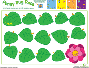 Preschool Offline Games Worksheets: Penny Bug Race