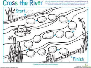 Preschool Offline Games Worksheets: Board Game: Cross the River