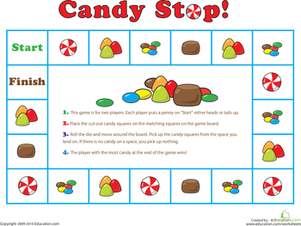 Kindergarten Offline Games Worksheets: Candy Stop Game