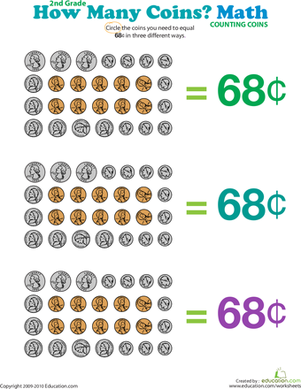 Second Grade Math Worksheets: How Many Coins Make 68 Cents?