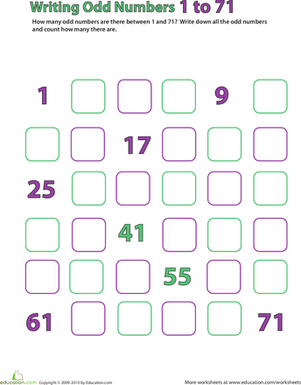 First Grade Math Worksheets: Odd Numbers: 1-71