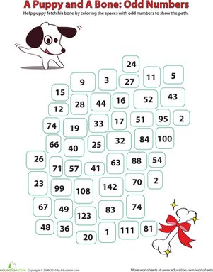 First Grade Math Worksheets: Identifying Odd Numbers: A Puppy and a Bone