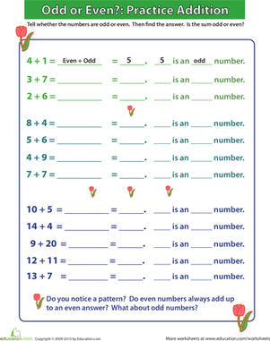 First Grade Math Worksheets: Odd or Even? Practicing Addition I