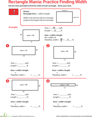 Fifth Grade Math Worksheets: Rectangle Algebra: Find the Missing Width