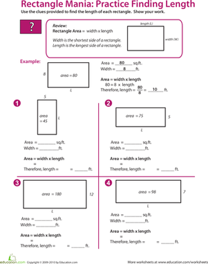 Printables Algebra Worksheets For 9th Grade rectangle algebra find the missing length worksheet education com fifth grade math worksheets length