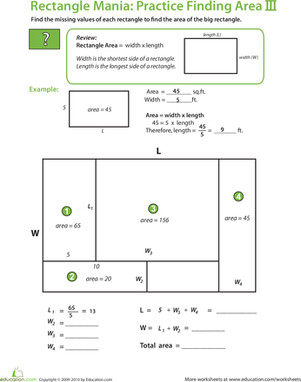 Fifth Grade Math Worksheets: Rectangle Algebra: Find the Total Area II