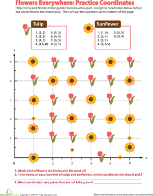 Fourth Grade Math Worksheets: Flowers Everywhere: Practice Coordinates