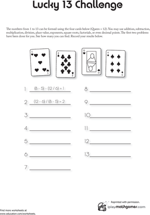 Math Card Game Lucky 13 Worksheet Education