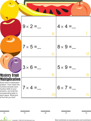 Third Grade Math Worksheets: Mystery Fruit Multiplication 2