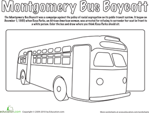 First Grade Holidays & Seasons Worksheets: Montgomery Bus Boycott Coloring Page