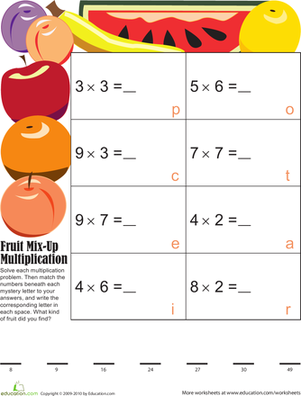 Third Grade Math Worksheets: Mystery Fruit Multiplication 6