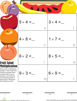 Third Grade Math Worksheets: Mystery Fruit Multiplication 7