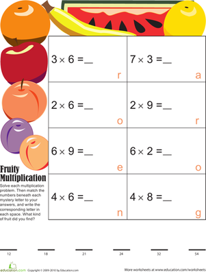 Third Grade Math Worksheets: Mystery Fruit Multiplication 5