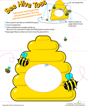 First Grade Offline games Worksheets: Beehive Coin Toss