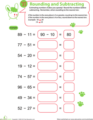 Second Grade Math Worksheets: Rounding Numbers: Subtraction