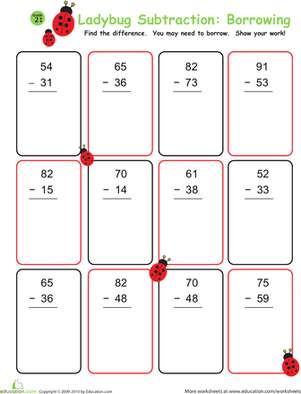 Ladybug Subtraction: Borrowing | Worksheet | Education.com