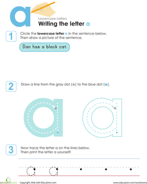 Preschool Reading & Writing Worksheets: Writing the Letter a