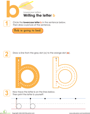 Preschool Reading & Writing Worksheets: Writing the Letter b