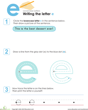 Preschool Reading & Writing Worksheets: Writing the Letter e