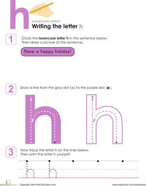 Preschool Reading & Writing Worksheets: Writing the Letter h