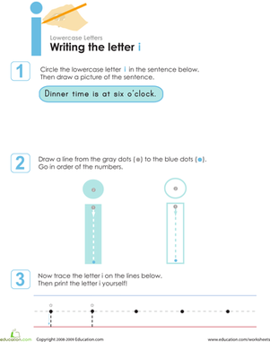 Preschool Reading & Writing Worksheets: Writing the Letter i