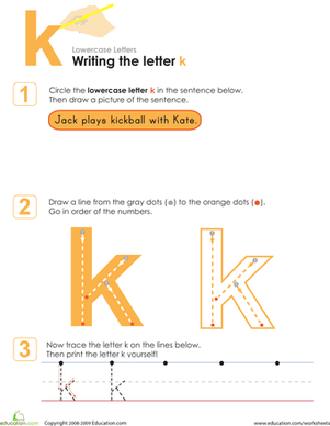 Preschool Reading & Writing Worksheets: Writing the Letter k