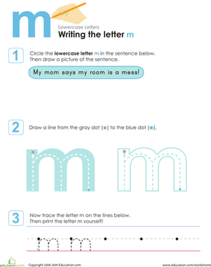 Kindergarten Reading & Writing Worksheets: Writing the Letter m