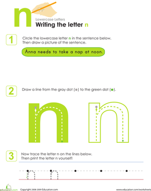 Kindergarten Reading & Writing Worksheets: Writing the Letter n