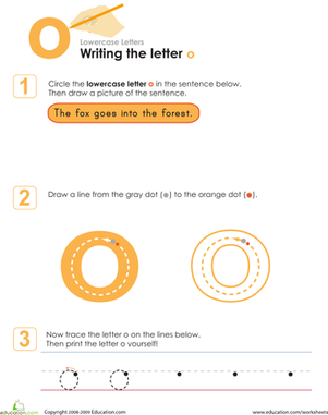 Kindergarten Reading & Writing Worksheets: Writing the Letter o