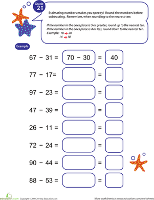 Second Grade Math Worksheets: Speedy Rounding and Subtracting 10