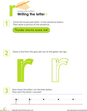 Kindergarten Reading & Writing Worksheets: Writing the Letter r
