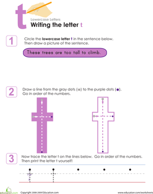 Kindergarten Reading & Writing Worksheets: Writing the Letter t
