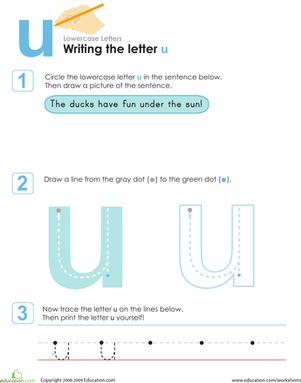 Kindergarten Reading & Writing Worksheets: Writing the Letter u