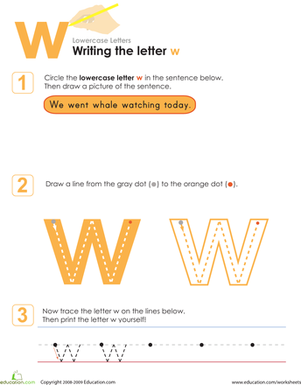 Kindergarten Reading & Writing Worksheets: Writing the Letter w