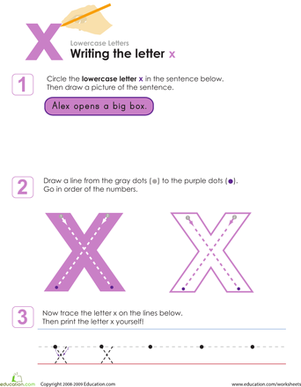 Kindergarten Reading & Writing Worksheets: Writing the Letter x