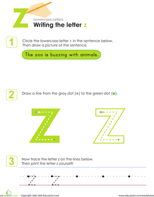 Kindergarten Reading & Writing Worksheets: Writing the Letter z