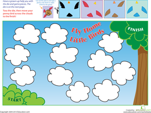 Preschool Offline games Worksheets: Fly Home Little Birds!
